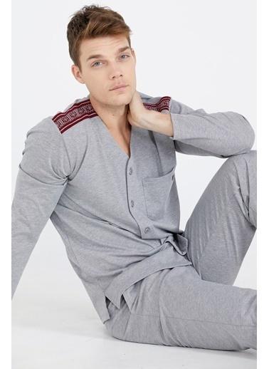 Sementa Erkek Omuz Detaylı Pijama Takımı  Antrasit
